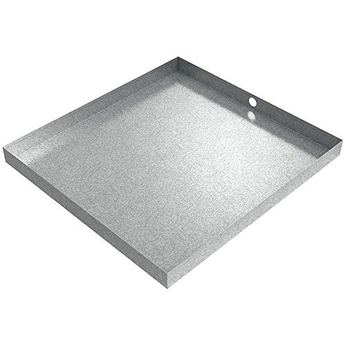 "32"" x 30"" x 2.5"" Galvanized Washing Machine Drain Pan with PVC Drain Fitting"