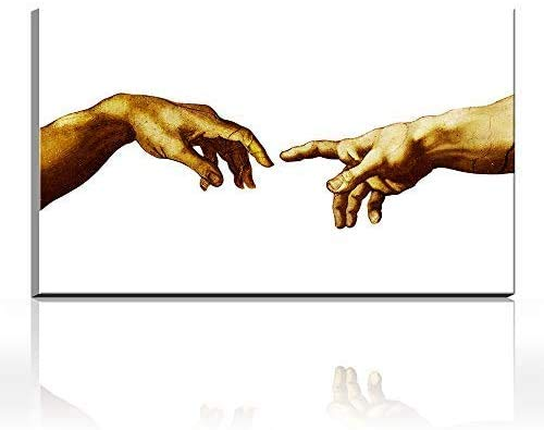 DINGDONG ART Lienzo De Impresión 30x50cm Sin Marco Creación Adam Mano de Dios Religión clásica Imagen de Pared Impresiones artísticas Famosas
