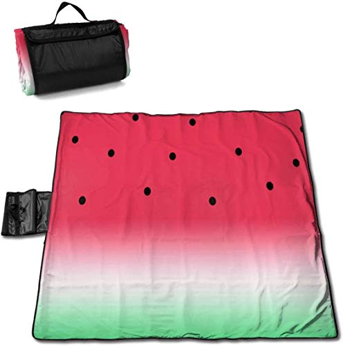 N/A Große wasserdichte Outdoor-Picknickdecke, lustig, Wassermelone, Obst, Melone, Sanddicht, Strandmatte, Tragetasche für Camping, Wandern, Gras, Reisen