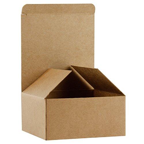 RUSPEPA Cajas De Regalo De Cartón Reciclado - Caja De Regalo Pequeña con Tapas para Pulseras, Joyas Y Regalos Pequeños - 10.5X10.5X5.2 Cm - Paquete De 30 - Kraft