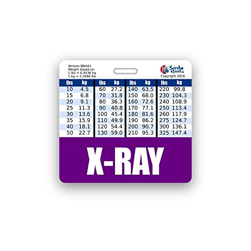 X-RAY Badge Buddy Horizontal w/Height & Weight Conversion Charts (Standard, Purple)