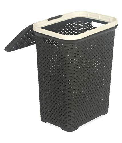 Nilkamal Laundry Basket Durable Plastic (Charcoal Grey)