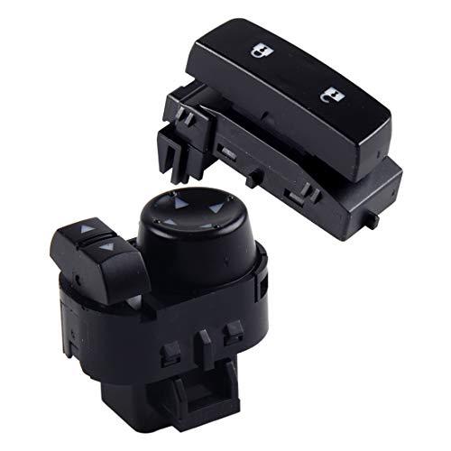 Interruptor de espejo de poder Espejo retrovisor de control del interruptor y bloqueo de la puerta Interruptor 22883768 ajuste for GMC Sierra Chevy Silverado 2007-2010 2011 2012 2013 Interruptor de co