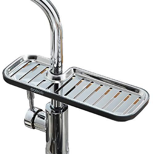 Bestomrogh Organizador de fregadero de acero inoxidable, soporte de esponja para grifo de cocina, jabón para grifo, soporte de almacenamiento con esponja (L negro)