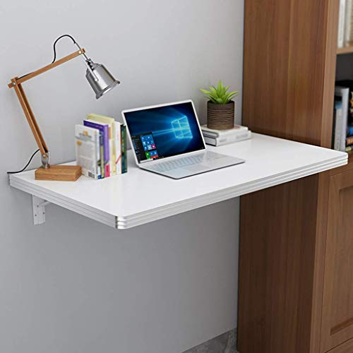 Wall Mounted Folding Table-Small Space Dining Table Kitchen Storage Rack Drop-Leaf Table Workbench Computer Desk Children (Color : White, Size : 70 * 50cm/28 * 20in)