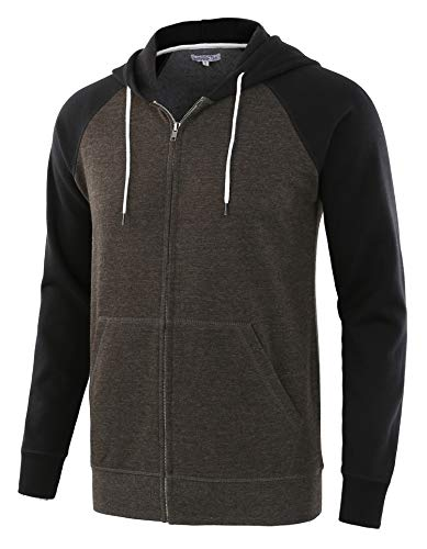 HARBETH Men's Athletic Fit Full Zip Fleece Hooded Sweatshirt Active Hoodie H.Charcoal/Black XL
