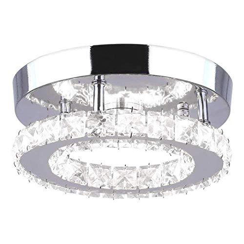 Mini Ring K9 Crystal Ceiling Light Finish Chrome - Dia 7.9inch Round Chandelier Flush Led Pendant Lights Fixtures for Living Room Kitchen Office Bedroom Dining Room Island (Color : Warm Light)