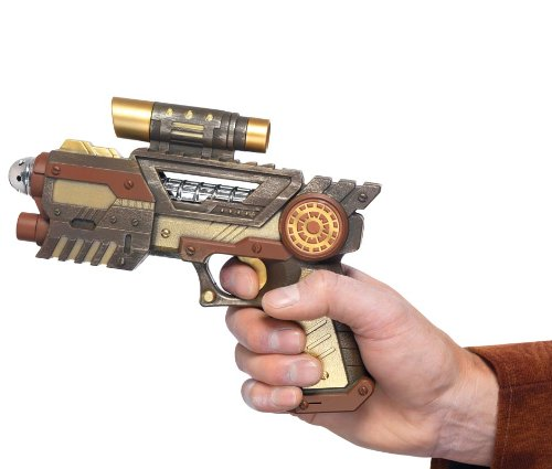 Complete your Steam Punk Costume with the Steam Punk Futuristic Gun. Gold colour. Fun accessory. Adult. Perfect for Halloween.