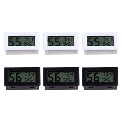iplusmile 6 Stück Mini Digital Thermometer Temperatur Luftfeuchtigkeitsmonitor Elektronische Bildschirmanzeige Hygrometer Fahrenheit für Haustier Reptilien