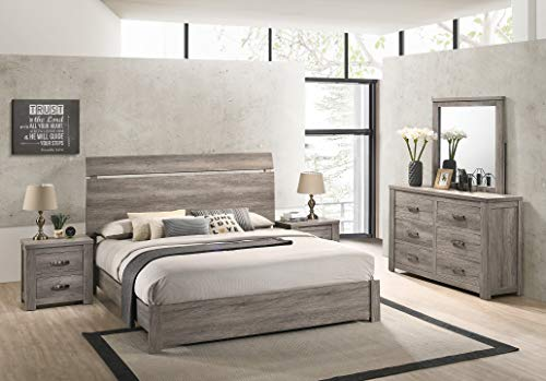 Roundhill Furniture Floren Contemporary Weathered Gray Wood Bedroom Set, Queen Panel Bed, Dresser, Mirror, Two Nightstands