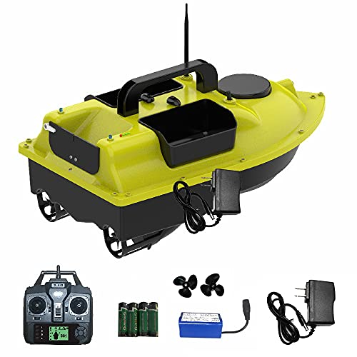 Remote Control RC Fishing Bait Boat for Carp, 2KG Load Fish Finder with GPS, 2 Motors 3 Hoppers Auto Cruise Control,Auto Return