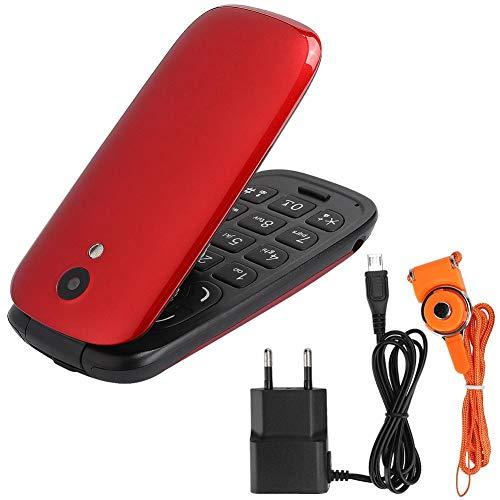 Teléfono Celular para Personas Mayores, fácil de Usar, Pantalla de 1,44 Pulgadas, Tarjeta Dual, Doble Modo de Espera (2 Tarjetas), teléfono móvil con Tapa 2G(Rojo)