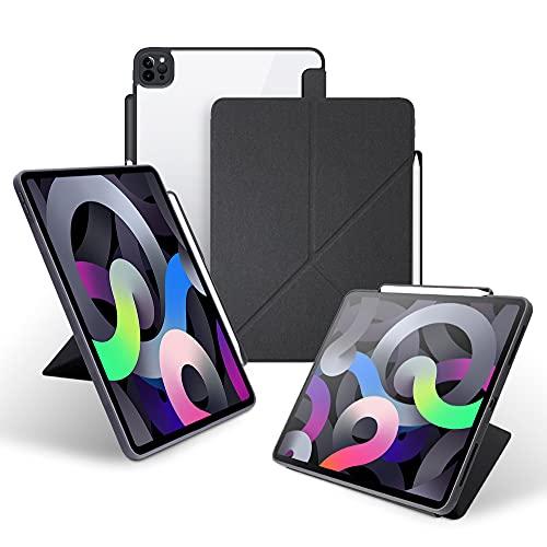 KHOMO Funda iPad Pro 12.9 2021 (5ta Gen) Origami Smart Cover Vertical Horizontal con Bordes Antichoque y Soporte para Apple Pencil 2 - Negro y Transparente