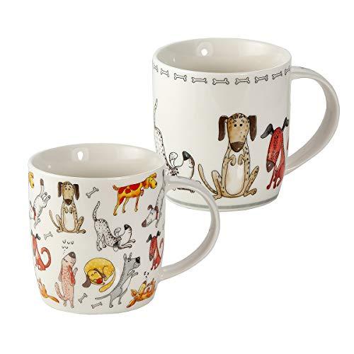 Tazze Cane - Set 2 Tazze da Colazione Grandi per Caffé e Té, Porcellana con Cani e Ossa, Animale Regalo per Donna Uomo e Amante dei Cane