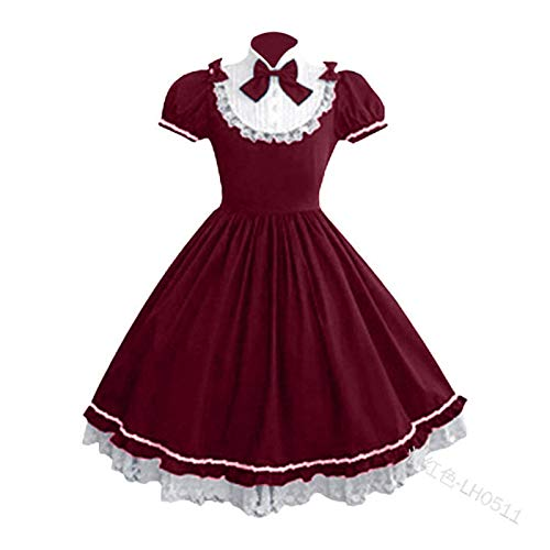 Bfrdollf Traje de Doncella de Anime Mujeres Alice Lolita ngel Pink Cotton Princess Vestido Trayectoria Gtico Tank Vestido Traje Lindo Anime Maid Capa Vestido for nias (Color : 2 Red, Size : 1)