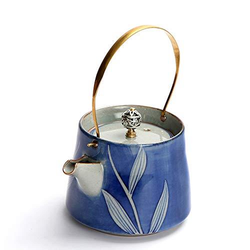 QCCOKNN Juego de té Kung Fu de gres con mango de cobre, hervidor de agua, cafetera de cerámica, textiles para el hogar
