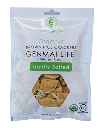Muso From Japan Genmai Life Organic Brown Rice Crackers, Gluten Free, Lightly Salted, 2.1 Ounce, 12 Count
