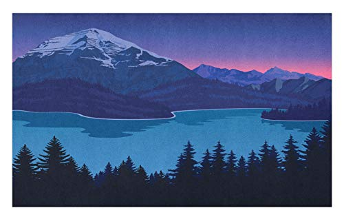 ABAKUHAUS Adventure Doormat, Mountain Hills Forest, Decorative Polyester Floor Mat with Non-Skid Backing, 18' x 30', Blue Night Blue and Pink