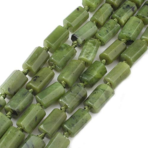 Moonlight Star 6x10mm Canadá Verde Jade Cuentas de Piedras Naturales Sueltos Cilindro for la joyería Que Hace Bricolaje Collar del Encanto de la Pulsera de 7,5 Pulgadas