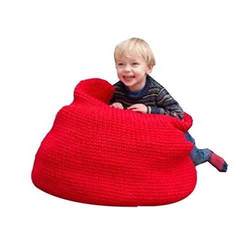 YumEIGE Kruk zitzak gebreide comfortabele voetenbank en voetensteun voor woonkamer, zitzakken slaapkamer en kinderkamer, gebreide kruk poef opslaggewicht 100 kg, katoenweefsel + EPS-granulaat