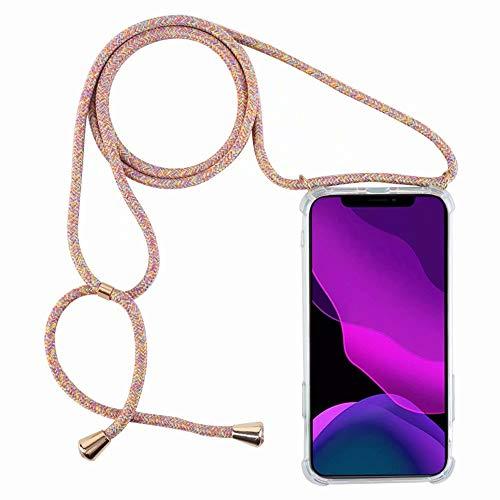2ndSpring Funda con Cuerda Compatible con Realme 5 Pro,Colgante Collar Correa de Cuello Cadena Cordón,Arcoiris Amarillo