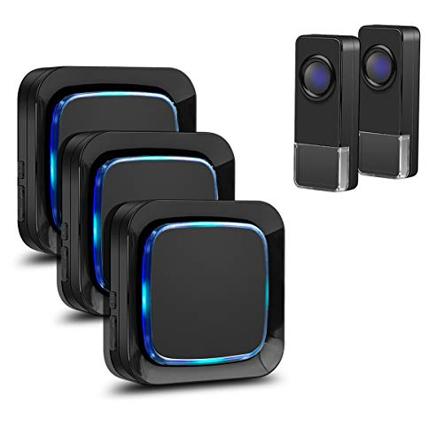 Wireless Doorbell, Coolqiya Door Bell Chimes Kit with 3 Plugin Receivers and 2 Remote Waterproof Push Buttons, No Battery Required for Receivers, 52 Melodies, Black