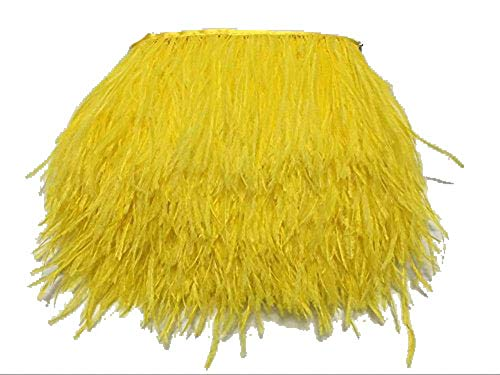 ADAMAI Natural Ostrich Feathers Trims Fringe DIY Dress Sewing Crafts Costumes Decoration Pack of 10 Yards (Yellow)
