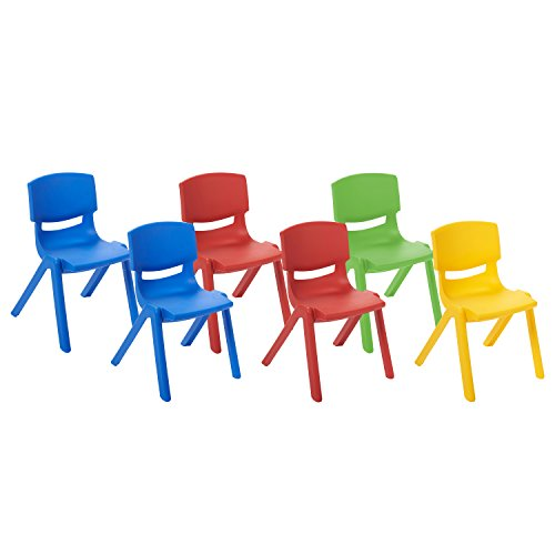 ECR4Kids School Stack Resin Chair, Indoor/Outdoor Plastic Stacking Chairs for Kids, 10 inch Seat Height, Assorted Colors (6-Pack)