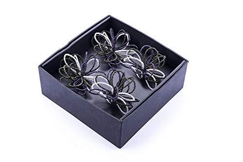 LegendArte Top Shop LH-013 Allacciatovaglioli Anelli Portatovaglioli Colore Viola Nero Bianco in Metallo 4 unità
