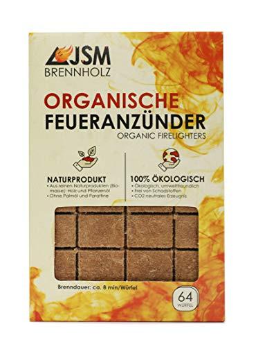 Grill-Anzünder von JSM® | Anzündwürfel aus Holz und Pflanzenöl | Kaminanzünder, Grillanzünder | 64 Würfel