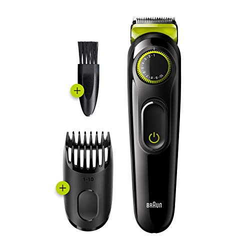 Braun Beard Trimmer BT3221 and Hair Clipper for Men, Lifetime Sharp Blades, 20 Length Settings, 50mins cordless trimming, Black/Volt Green