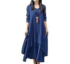 Mujeres Vestidos Casual Elegantes Vintage Swing Lino Manga Larga Algodón Talla Grande Maxi Largos Vestido De Mujer Azul XS: Amazon.es: Ropa y accesorios
