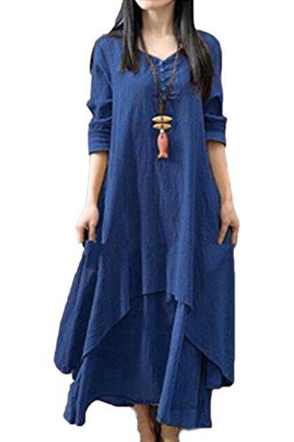 Yulinge Damen Elegant Kleid Baumwolle Vintage Beiläufige Langarm Boho Leinen Sommer Festlich Lange Kleider blau L