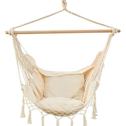 Hamaca colgante de 100 x 130 cm, cómoda y duradera, de algodón, con bolsa de transporte, cojín y varilla de madera, elegante borlas, para interior y exterior, 330 kg