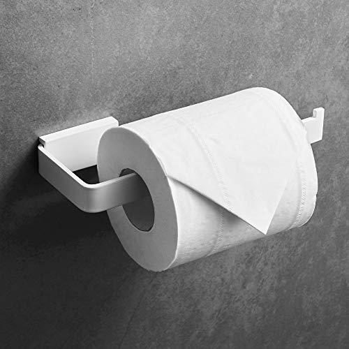 WONAO Toilettenpapierhalter Weiß Wandmontage Matt Werkstatt Klopapierhalter zum Bohren Badezimmer Zubehör WC Papier Halterung