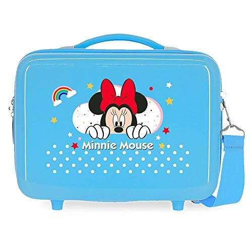 Disney Minnie Rainbow Neceser Adaptable Azul 29x21x15 cms Rígido ABS 9,14L 0,84 kgs