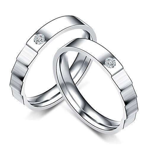 Malinmay Stainless Steel Ring Set, Single Cubic Zirconia Stepped Band Couple Ring for Wedding