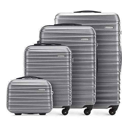 WITTCHEN Koffer – Set of 4 | hartschalen, Material: ABS | hochwertiger und Stabiler | Grau | Verschiedene Größen