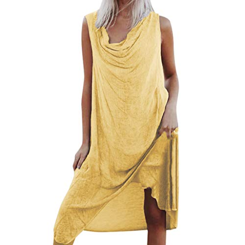 TIANMI Women's Casual Solid Color Dress Ladies Sleeveless Beach Plus Size Loose Dress Vintage Summer Dresses Yellow