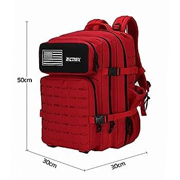 ELITEX Sac à dos tactique militaire 45 L 2021 drapeau américain imperméable pour Crossfit chasse, plein air, sport, gym, portable Oxford 900D, rouge, XL