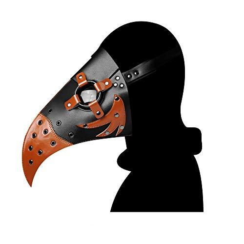 Leshi Shop Máscara de médico de la plaga, máscara de pico de pájaro steampunk con nariz larga para cosplay (marrón)