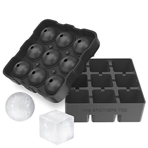 The Brothers Tod Silicone Large Ice Cube Mold & Ice Sphere Ball Mold (9 Balls with Lid) Combo Set