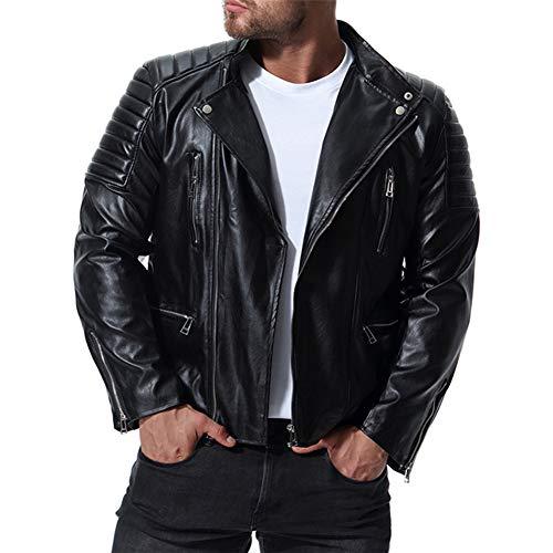MISSMAOM Chauqeta de Cuero Hombre Biker Chaqueta Abrigo Moto Punk Chaqueta Negro XL