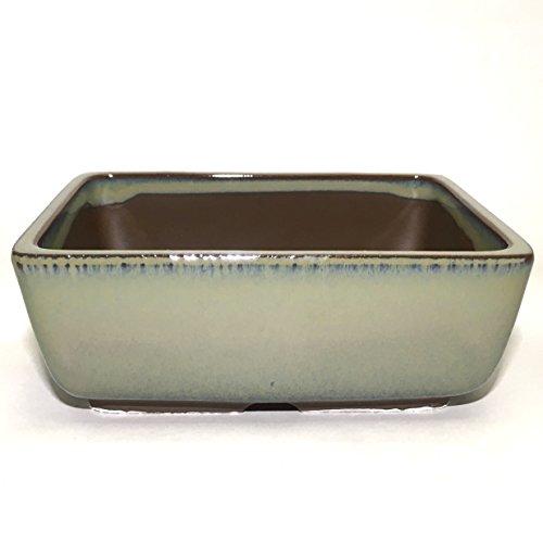 Bonsai Pot Ceramic Rectangle Round Shaped Corners Moss Green Glazed (5.5', Oribe-Yu)