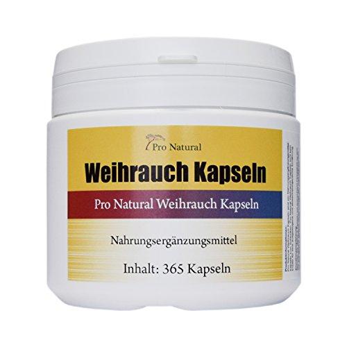 Weihrauch Kapseln hochdosiert 450mg - 365 Kapseln (vegetarisch), Boswellia von Pro Natural