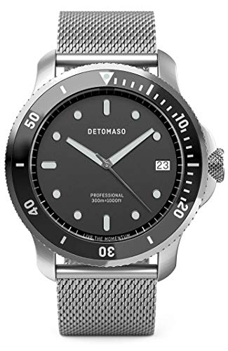 DETOMASO SAN REMO Diver Silver Black Herren-Armbanduhr Analog Quarz Mesh Milanese Uhren-Armband Silber