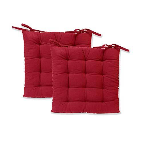etérea Sitzkissen - Ilka Stuhlkissen Serie - Boden-Kissen mit Bändern für Indoor und Outdoor, 100% Baumwolle nach Ökotex 100, Größe: 2er Set - 40x40 cm, Farbe: Bordeaux