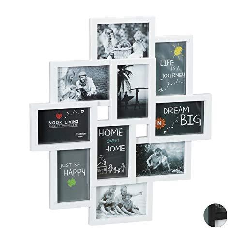 Relaxdays Bilderrahmen Collagen, für 10 Bilder, Hoch-oder Querformat, Wand Kunststoffrahmen, H x B 55 x 50 cm, weiß