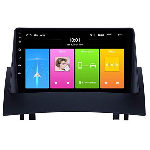 Android Autoradio Radio Double DIN Sat Nav para Renault Megane 2 Navegación GPS 2.5D Pantalla Táctil Reproductor Multimedia FM Am DVD Video Receiver(Color:4G+WiFi 2G+32G)
