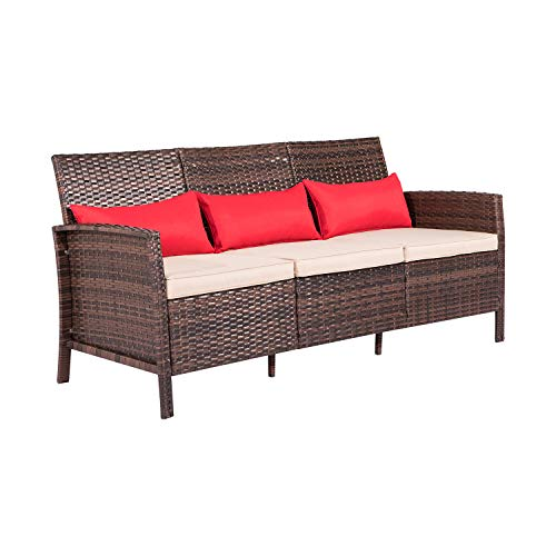 Patiomore Patio Sofa 3-Seater Outdoor Rattan Couch, All-Weather Wicker with Thick Cushions for Garden, Backyard, Porch or Poolside